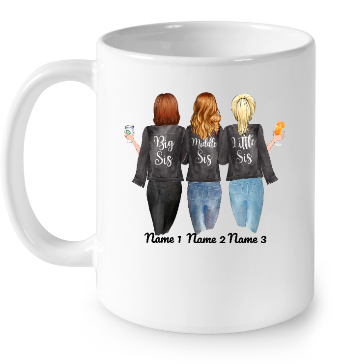Personalized Mug Big Middle Little Sis 3 Sisters Mug Sister Forever Never Apart Maybe In Distance But Never At Heart Coffee Mug Awesome Tee Fashion